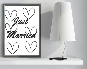 TYPOGRAPHY PRINT Just Married ( Wedding Gift)