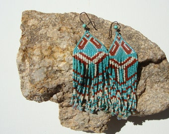 Earrings woven, Native American, Bohemian, ethnic, gipsy