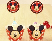 24 Mickey Mouse Disney Cupcake Toppers Wrappers ~ Mickey mouse cupcake picks ~ Mickey mouse theme ~ Mickey mouse party ~ birthday party ~