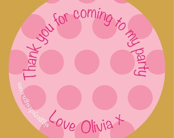 Pink Polka Dot Party Bag Stickers