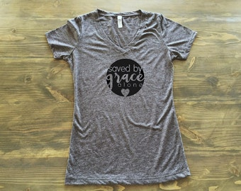 Saved By Grace Alone Women's V Neck Christian Gray T Shirt Grey (4 Colors)