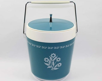 Thermo-Serv West Bend Insulated Ice Bucket Box Mid Century Cornflower Aqua Blue