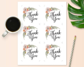 Thank-you Tags for Bridal Shower - Floral Theme - Instant Printable Download