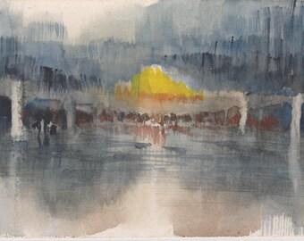 BOULEVARD - original watercolor painting 7X5, landscape
