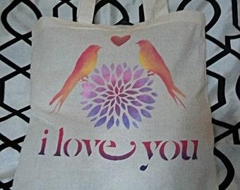 I love You Birds Canvas Tote Bag