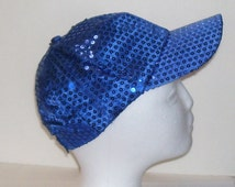 Royal Cobalt Blue Sequined Rave Disco Baseball Style Hat Cap Adjust Siz for Cosplays, ,Clubbing, Raves, Parties, PokemonGo Teams, Etc.