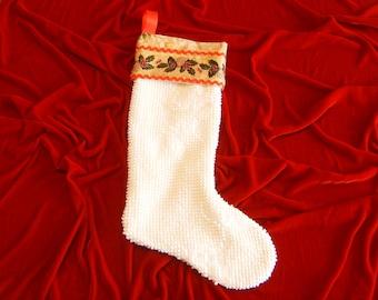 Chenille Christmas Stocking, Upcycled Christmas Stocking, Vintage Christmas Stocking, Ivory Christmas Stocking, Lined Christmas Stocking