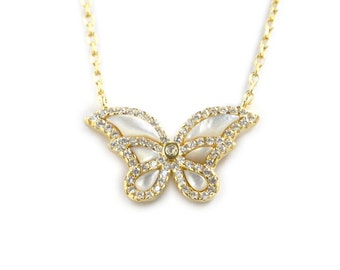 Sterling BUTTERFLY Necklace With 60 CZ'S All Over (126)