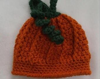 Newborn Pumpkin Hat- Dark Orange
