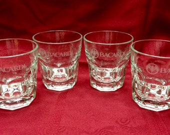 Bacardi Etched Rum Glasses - Set of Four