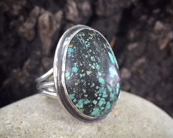 Turquoise Ring, Size 8, Sterling Silver