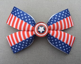 Handmade Captain America Inspired Hair Bow