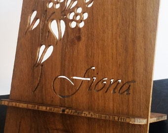 Personalised hand-cut wooden iPad or tablet stand