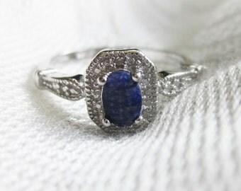 Alluring Dark Sapphire and Diamond ring