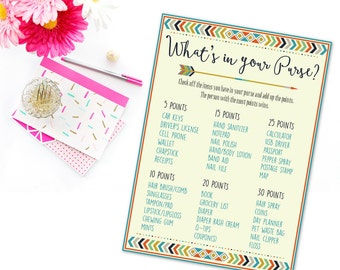 Boho Baby Shower What's In Your Purse Game, Tribal Baby Shower Purse Game Printable, Arrows Baby Shower Game, Boy Tribal Arrows Printable