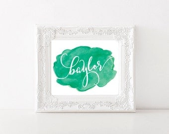 Baylor University Watercolor Swatch Printable (8x10)