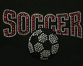 Free shipping USA, Soccer Crystal Ruby Jet Black Rhinestone, Soccer Iron On, Soccer Heat Transfer, Soccer Bling, Soccer Sparkle, soccer gift