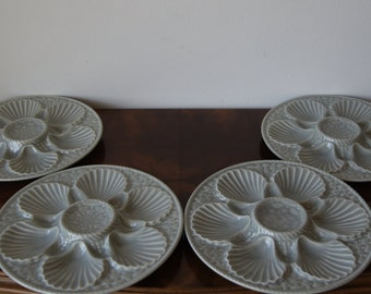 4 Longchamp Grey Oyster Plates  Vintage huitre and mussel french plates Made in France