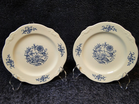 """Homer Laughlin Dresden Imperial Blue Bread Plate 6 5/8"""" TWO MINT!"""