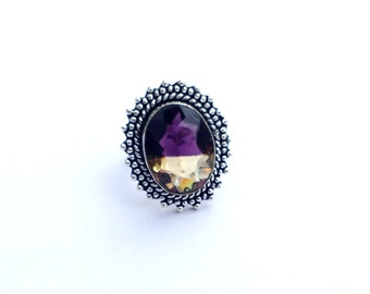 Size 8.5 - Ametrine Gemstone Ring - 925 Sterling Silver Ring - Ametrine Quartz Silver Ring - Gift for her