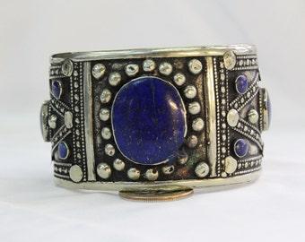 Lapis Cuff Bracelet - Tibetan Jewelry - Boho Gypsy Bracelet - Hand Carved Ethnic Cuff - Lapis Cuff Bracelet - Ethnic Tribal Bracelet # B54