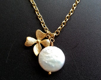 Matte Gold Orchid White Freshwater Coin Pearl Necklace Bridesmaid Necklace Gift For Her Women's Gift Bridesmaid Gift