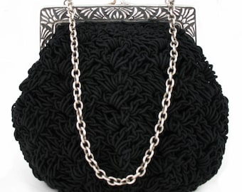 Hand Crocheted Purse With Sterling Silver Frame - Style 110