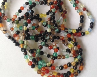 SALE!!! 40% OFF Store Wide! 2mm - Mixed Agate Smooth Cut Beads - 140 Pc Per Strand