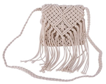 Fringe Bag, Crochet Bag, Tassel Cross Body Purse, Boho chic Bohemian Shoulder Bag, Hippie purse, Vintage Bag
