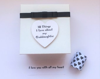 Goddaughter 10 things I Love about message in a box  personalised keepsake christening Birthday christmas Birthday gift