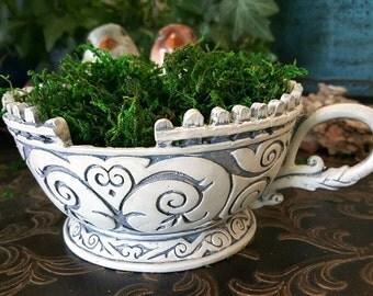 Teacup Planter - White