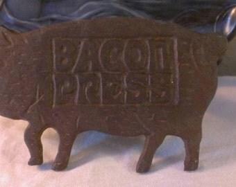Vintage Pig Shaped Cast Iron Bacon Press