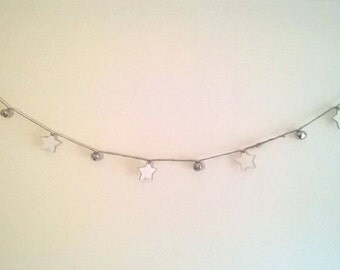 Wooden Star and Jingle Bell Garland, Christmas Decoration