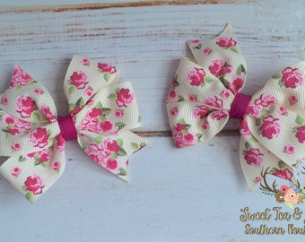 Floral Pigtail Bows- Girls Vintage Floral Clip- Girls Small Floral Bow- Baby Girl Flower Bow- Vintage Floral Clip- Infant Flower Pigtail Set