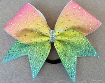 Spring Bling Rainbow Cheer Bow // Ombre Cheer Bow // Rhinestone Cheer Bow // Competition Cheer Bows // Glitter Cheer Bow // 8 inch Bows