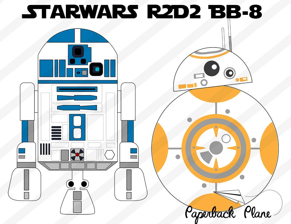 Custom Card Template template name card free download : Star wars robot R2D2 bb-8 SVG PNG Cut Files for use with