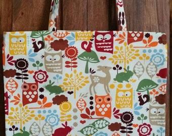 Medium sized handmade owl cotton canvas tote/shopping/book bag