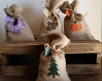 Rustic, hand sewn, burlap bags filled with your favorite scent