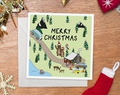 Home for the Holidays Card | Retro Combi Van | Bears in Santa Hats | Handmade | Funny Christmas Card | Illustration | Word Finders Club