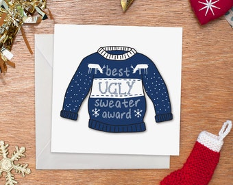 Best Ugly Sweater Award Christmas Card | Merry Christmas | Funny Christmas Card | Funny Holiday Card | Christmas Jumper Card | Illustration