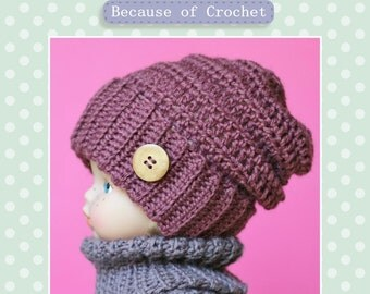 Crochet PATTERN - Slouchy Beanie. Quick and easy. Newborn, Toddler, Child, Adult sizes.