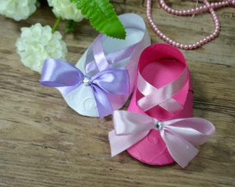Set 10 Ballet Paper Baby Shoes Paper Baby Booties Paper Baby Shower Baby Shower Favors Baby Shower