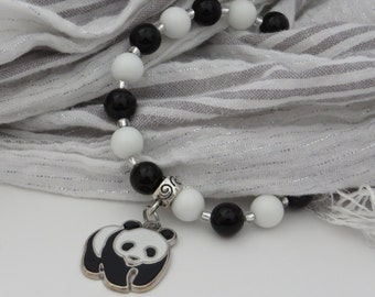 Panda Bracelet / Black and White Bead Bracelet / Panda Charm Bracelet / Conservation Bracelet / Stretchy Beaded Bracelet - Charming 129