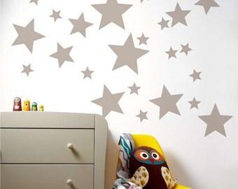 Stars Wall Confetti/76 Stars Pattern wall vinyl decal/3 Sizes/Star nursery decal/kids room decal/Star wall sticker/Wall decor/Stars wall art
