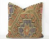 Kilim Fabric Pillow  Turkish Rug Pillow  Bohemian Pillow Cover  Living Room Decor Sofa  Floor Pillow Throw Pillow  Oriental Rug Pillow 20X20