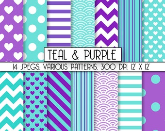 """Scrapbook Digital Paper """"Purple & Teal"""" Commercial Use INSTANT DOWNLOAD, perfect for graphic design projects, item C131"""