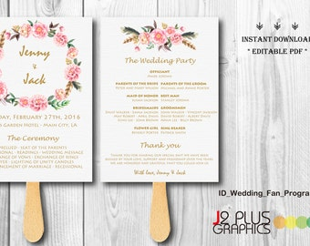 INSTANT DOWNLOAD Wedding Fan Program Template, Floral Wedding Fan Program Instant Download, Wedding Fans Template Printable DIY Editable pdf