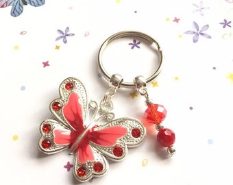 Red Butterfly Keyring