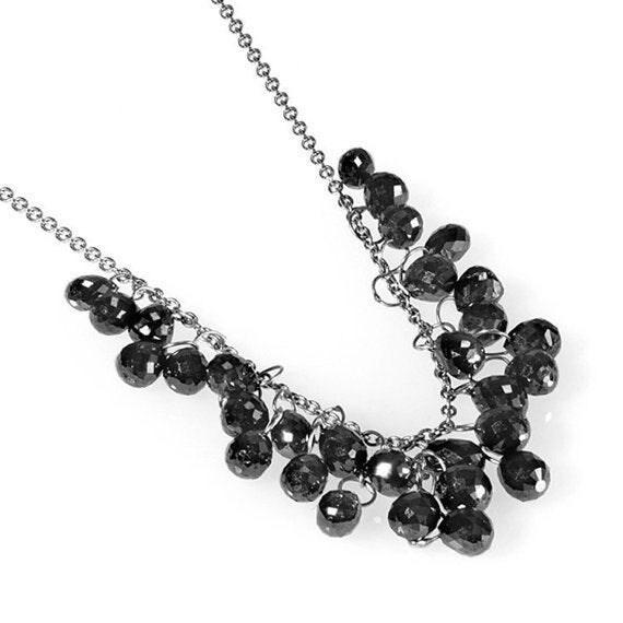 Buy Kundan Choker Necklace Priya Nacc10438c: Black Diamonds Briolettes Necklace With 50 Beads By