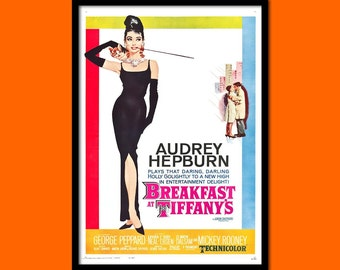 Breakfast at Tiffany's Poster 1961 Audrey Hepburn Poster Retro Movie Poster   Poster Old Movie Print  bp